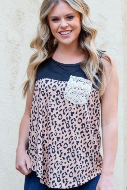 LEOPARD TEE WITH LACE POCKET DETAIL IN SIZES SMALL TO XXL #143