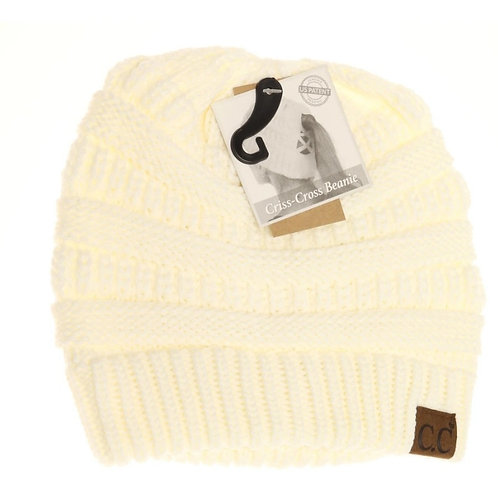IVORY COLORED CRISS CROSS PONY CC BEANIE #289