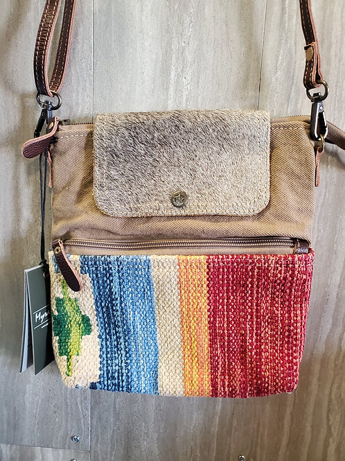 SPRING TIME WOVEN COTTON, CANVAS & HAIR ON LEATHER MESSENGER PURSE #541