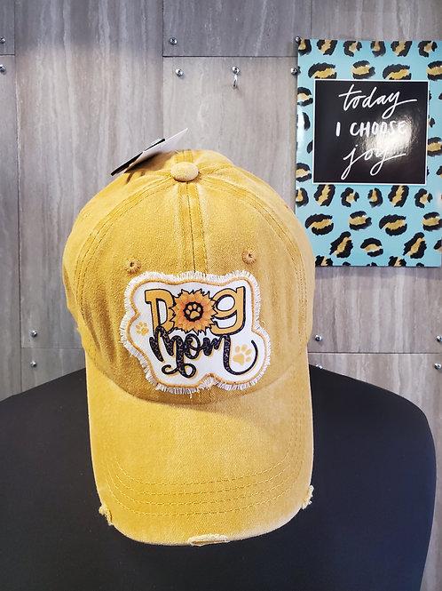 DOG MOM SUNFLOWER 🌻 MUSTARD HAT CAP WITH VELCRO CLOSURE #674