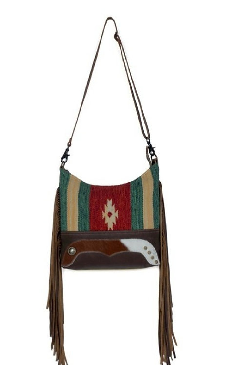 MYRA BAG WOVEN COTTON AZTEC PRINT WITH GENUINE HAIR ON LEATHER PURSE #828