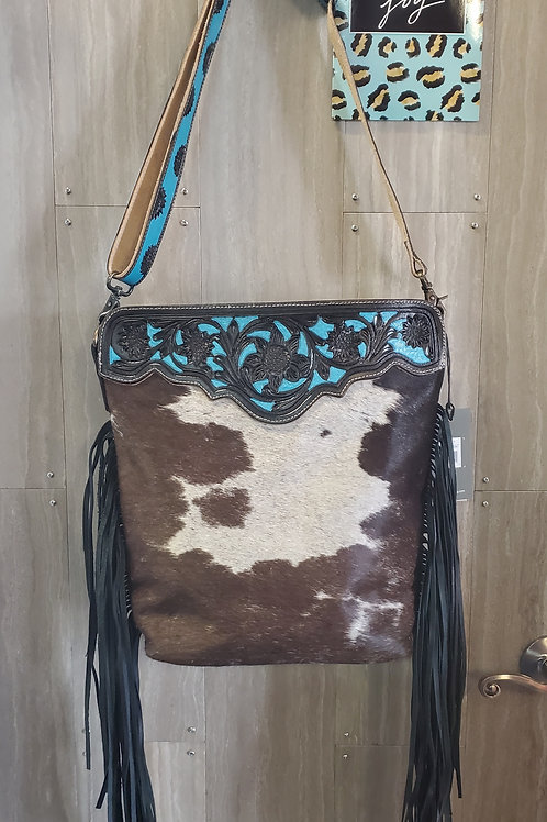 MYRA BAG 100% HAIR ON & TOOLED LEATHER PURSE WITH SUNFLOWER DETAILS #705