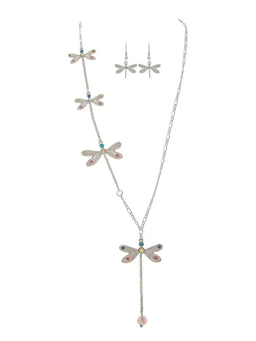 RAIN JEWELRY DRAGONFLY NECKLACE SET WITH CRYSTAL #575