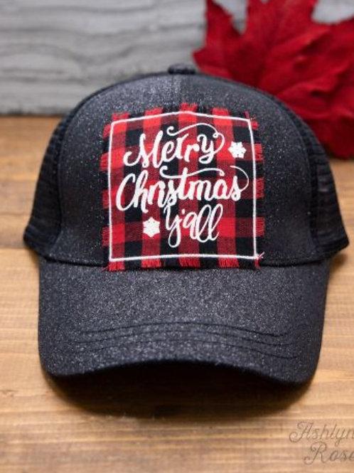 MERRY CHRISTMAS Y'ALL BUFFALO PLAID GLITTER PONY HAT #308