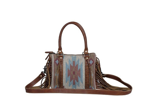 MYRA BAG WOVEN COTTON AND GENUINE LEATHER PURSE #824