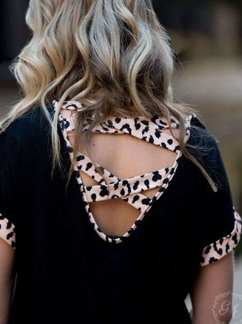 BLACK TEE WITH CRISS CROSS LEOPARD BACK DETAIL IN SIZES SMALL TO 2X #004