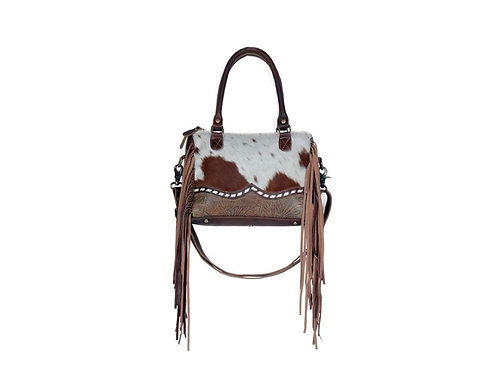 MYRA BAG HAIR ON & TOOLED LEATHER PURSE WITH ADJUSTABLE STRAP #819