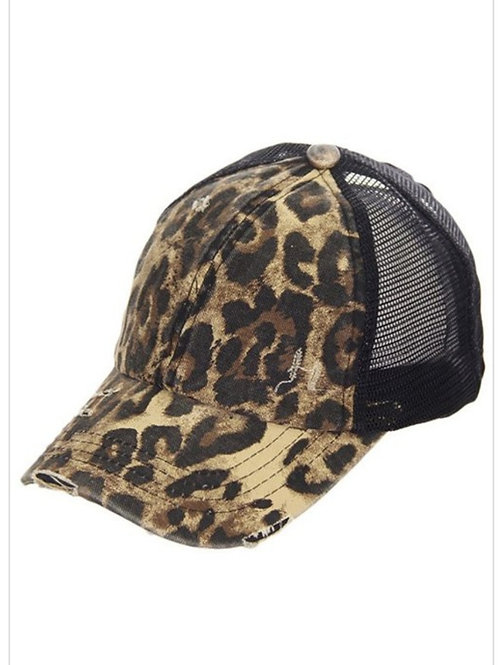 BLACK LEOPARD PRINT CROSSED ELASTIC C.C. CAP HAT #220