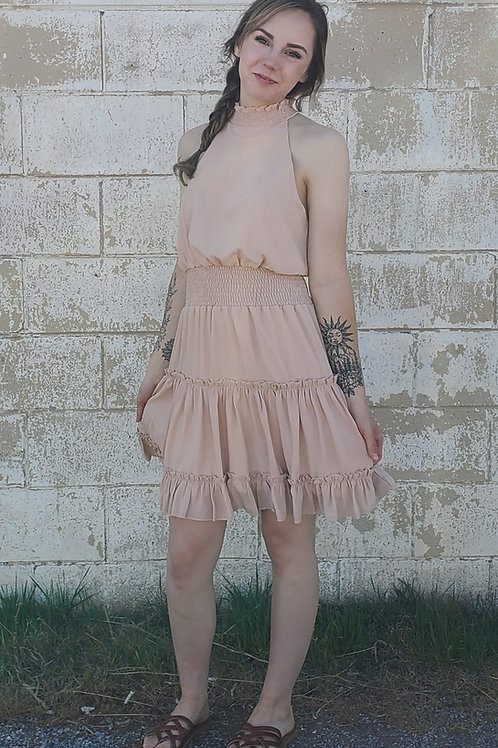 PEACHY TAUPE SMOCKED SLEEVELESS WOVEN FULLY LINED DRESS #758