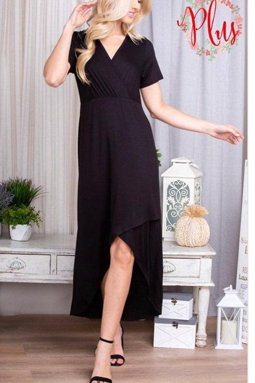 PLUS SIZE FOE WRAP V-NECK BLACK DRESS WITH HIGH-LOW HEM #845