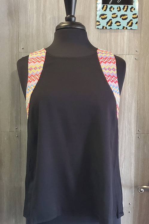 BLACK EMBROIDERED AZTEC SLEEVELESS TOP BLOUSE #771
