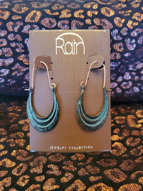 RAIN JEWELRY CRESENT LOOP PATINA EARRINGS #340