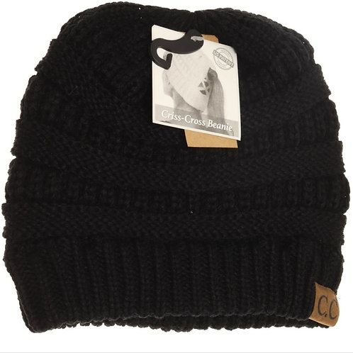 BLACK COLORED CRISS CROSS PONY CC BEANIE #294