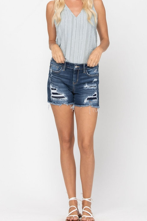 JUDY BLUE MID-RISE PATCH CUT OFF SHORTS SIZES SMALL TO 3X #680