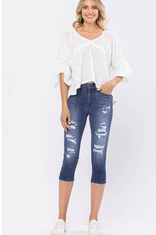 JUDY BLUE MID-RISE DISTRESSED CONTRAST PATCH CAPRI #852