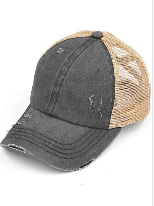 CHARCOAL WASHED DENIM C.C. CROSSED ELASTIC PONY HAT CAP#219