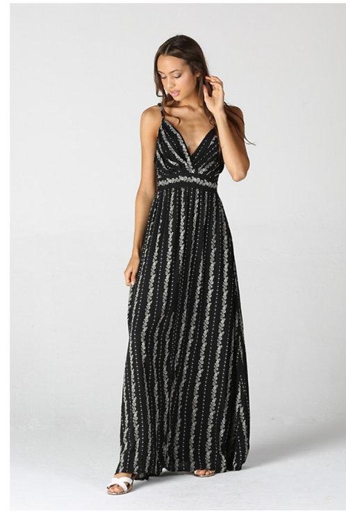 ADJUSTABLE SPAGHETTI STRAP MAXI DRESS WITH A BLACK FLORAL PRINT