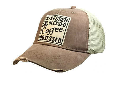 """""""SRESSED BLESSED & COFFEE OBSESSED """" BASEBALL STYLE CAP HAT #174"""