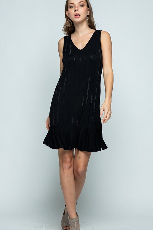 VOCAL BRAND BASIC BLACK DRESS WITH RUFFLE BOTTOM AND SPARKLES ON FRONT