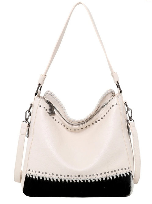 MONTANA WEST HAIR ON CONCEALED CARRY PURSE BAG BEIGE #645