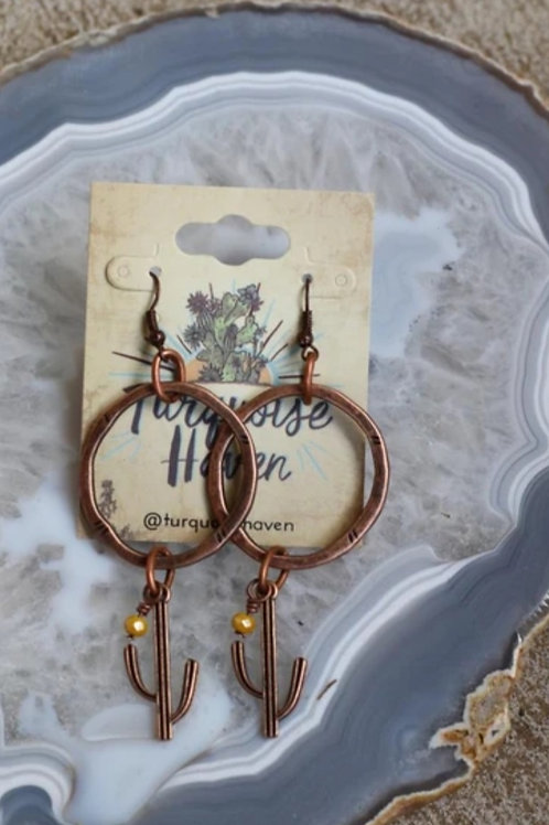 "ANTIQUE COPPER CACTUS EARRINGS 3"" DROP #194"