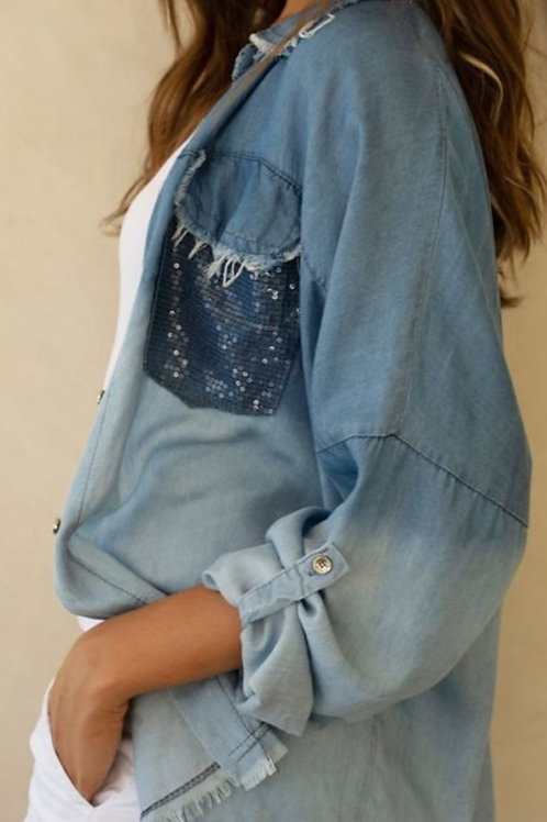 OMBRE BUTTON UP FRINGED EDGE TOP WITH SEQUINS POCKETS #470