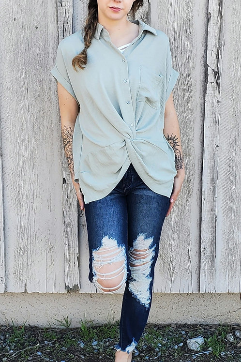 DOLMAN SLEEVE BUTTON DOWN TOP W/ FRONT TWIST DETAIL IN MISTY OLIVE & WHITE #838