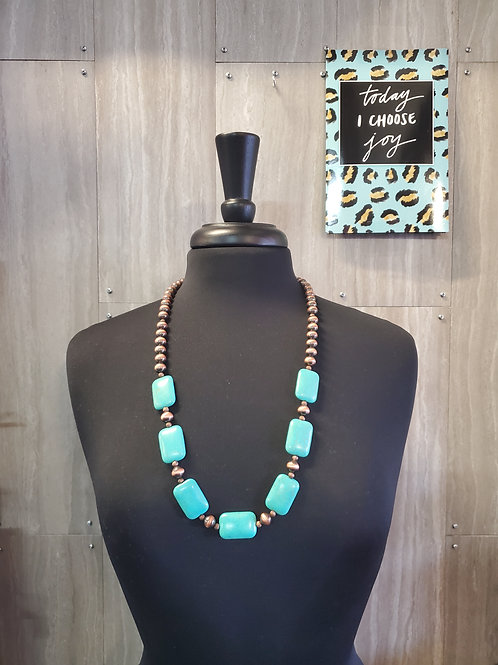 WORN COPPER AND TURQUOISE STONE NECKLACE & EARRINGS SET #622