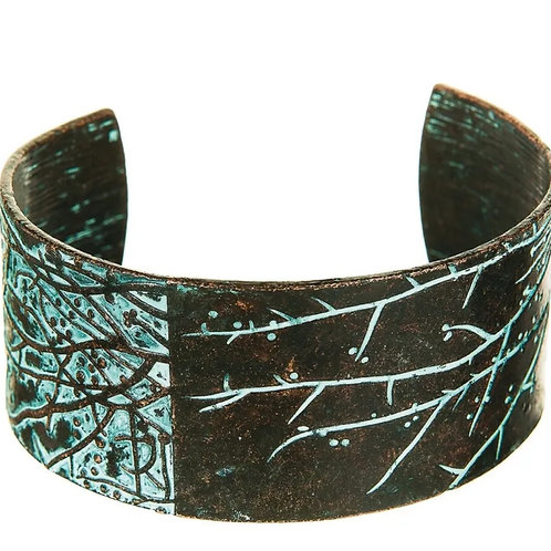 PATINA WOODLAND SCENE CUFF BRACELET BY RAIN JEWELRY #129