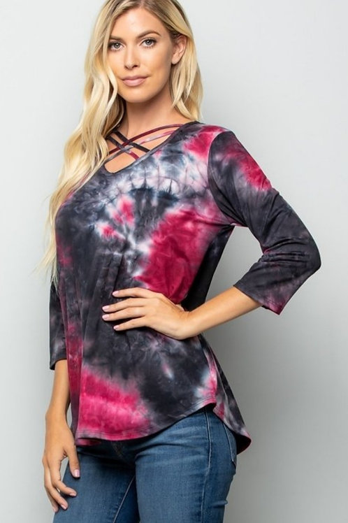 BLACK & BURGUNDY TYE DYE 1/4 SLEEVE TOP #517
