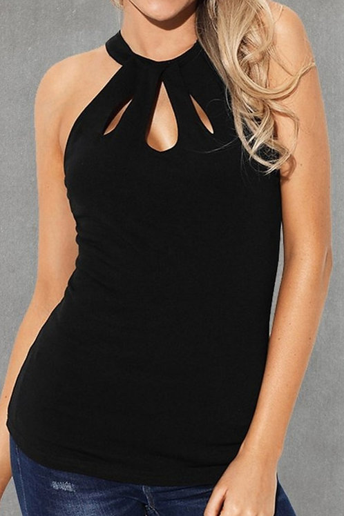 CUT OUT BLACK STRETCH TANK TOP #230