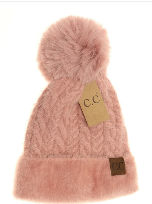 CABLE KNIT FAUX FUR POM CC BEANIE IN ROSE #296