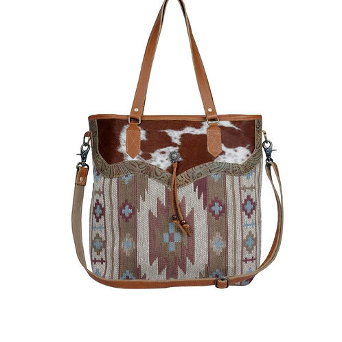 MYRA BAG SMALL TOTE WITH HAIR ON & TOOLED LEATHER PURSE #821