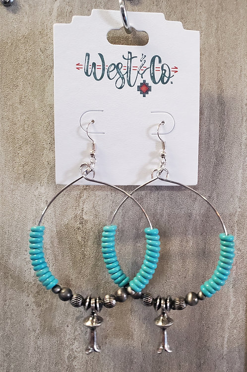 """4"""" TURQUOISE BEADED DANGLE HOOP EARRINGS WITH BLOSSOM ACCENT #561"""