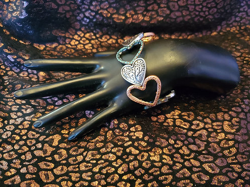 RAIN JEWELRY MULTI METAL FITTED HEARTS STRETCHY BRACELET #403