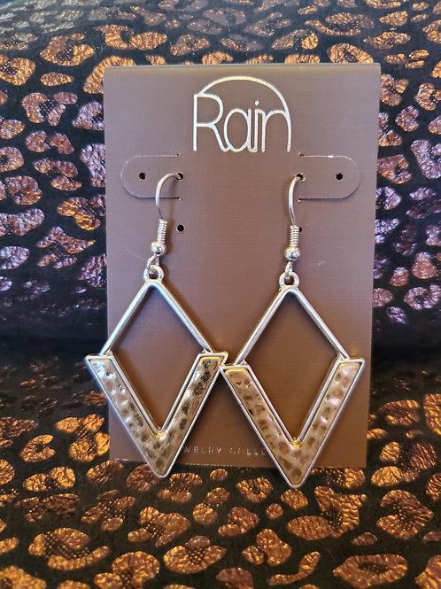 RAIN JEWELRY MULTI METAL CHEVRON DROP EARRINGS #356