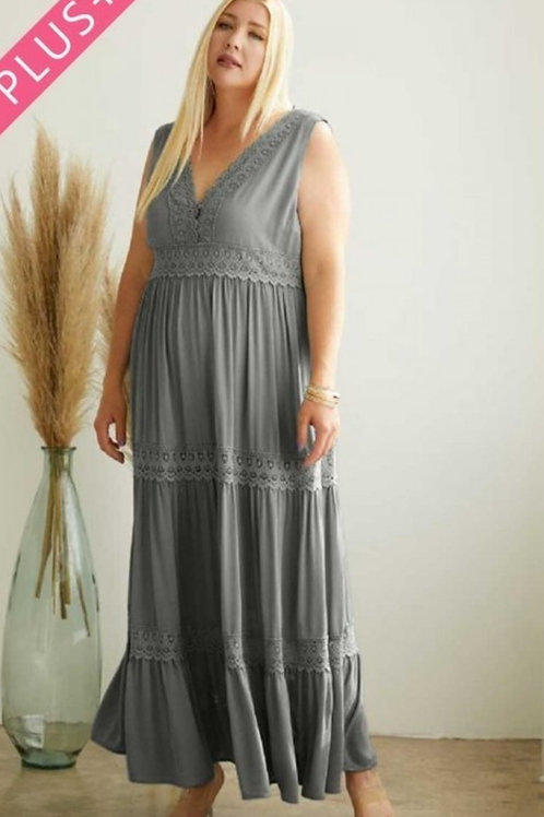 PLUS SIZE OLIVE GREEN FULLY LINED DRESS WITH CROCHET TRIM DETAILS & POCKETS #814