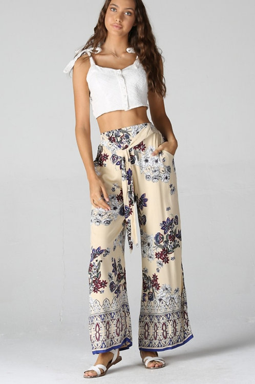 ELASTIC WAISTBAND PALAZZO PANT WITH POCKETS