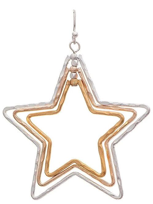"""2"""" MULTI METAL TRIPLE STAR EARRINGS BY RAIN JEWELRY #092"""