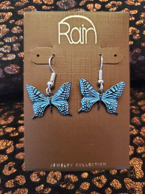 RAIN JEWELRY BLUE ENAMEL WASH BUTTERFLY EARRINGS #387