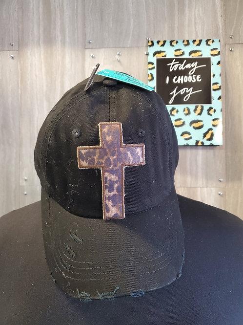 LEOPARD CROSS BLACK BASEBALL CAP HAT #547