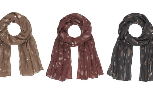 METALLIC FEATHER FALL SCARVES IN RUST, CHARCOAL & TAUPE #475