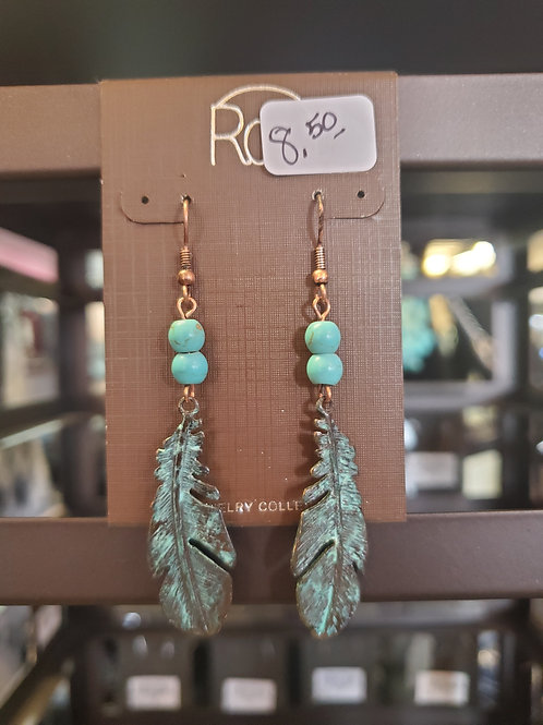 RAIN JEWELRY COLLECTION EARRINGS PATINA FEATHER