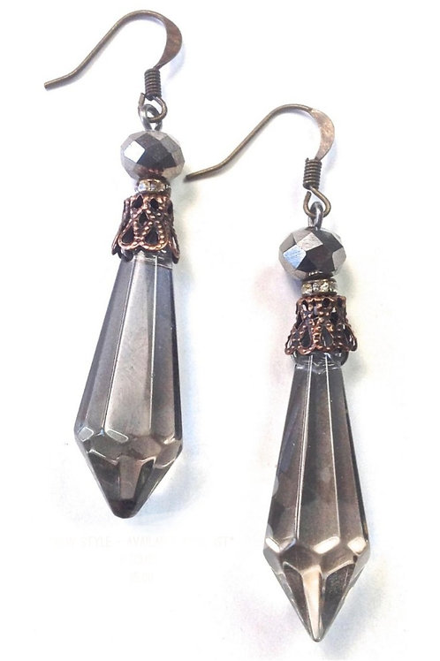 """2.5"""" SMOKEY CRYSTAL EARRINGS BY LOST & FOUND TRADING CO # 030"""