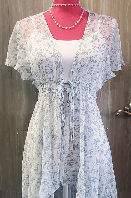 IVORY & BLUE FLORAL PRINT KIMONO  DUSTER WITH ELASTIC WAISTBAND & TIE FRONT #784