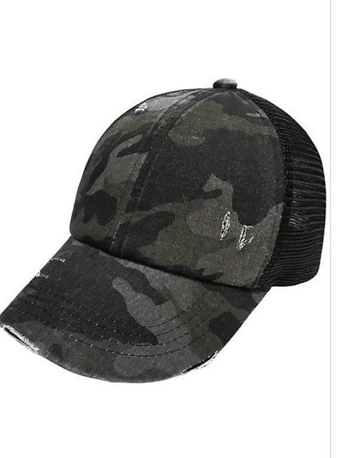 BLACK CAMO CROSSED ELASTIC BAND C.C. PONY CAP HAT #216