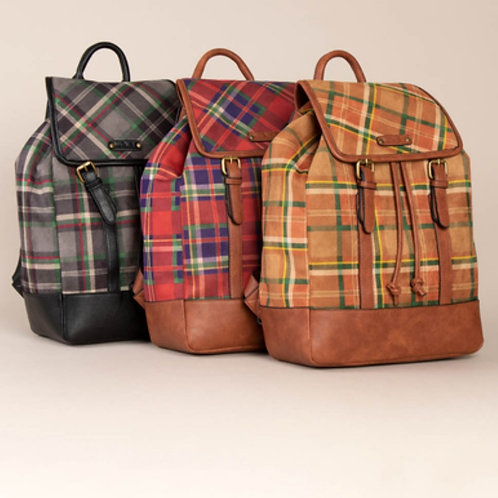 SIMPLY NOELLE LUMBER JILL PLAID BACKPACK IN 3 COLORS #329