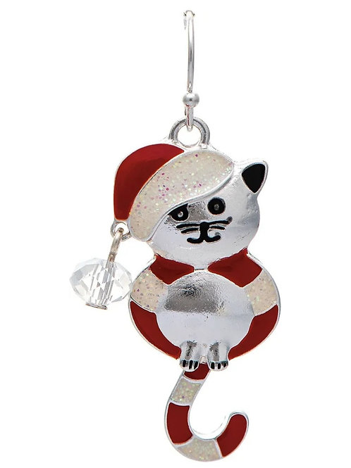 RAIN JEWELRY SANTA CAT WITH SWINGING TAIL EARRINGS #457