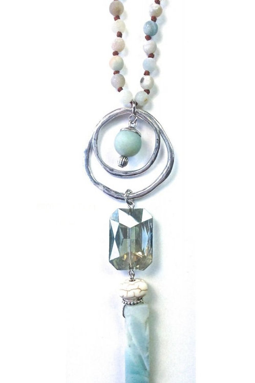 """36"""" KNOTTED AMAZONITE STONE NECKLACE #044"""