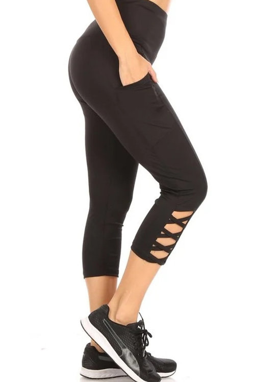BLACK ACTIVEWEAR LEGGINGS CAPRI WITH PHONE POCKETS EXCELLENT QUALITY #207